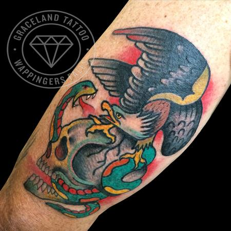 Traditional Skull, Eagle and Snake Tattoo Tattoo Thumbnail