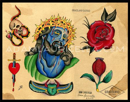 Blue Jesus Tattoo Flash Tattoo Flash Thumbnail