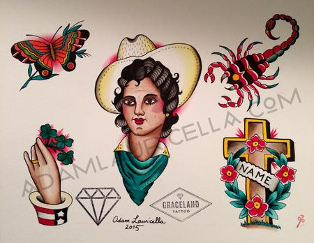 Cowgirl Tattoo Flash Sheet Tattoo Flash Thumbnail
