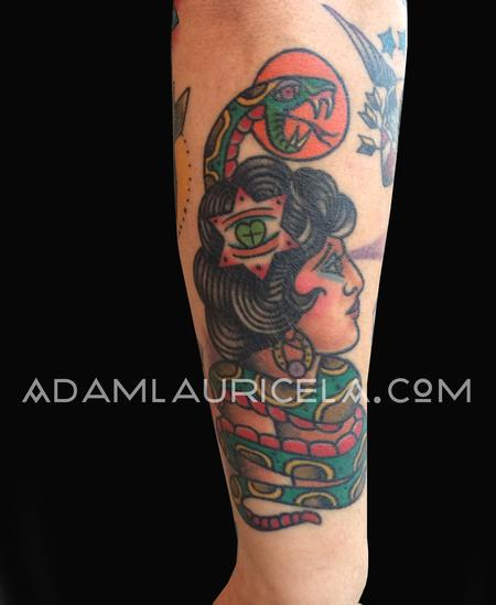 Traditional Snake Lady Tattoo Tattoo Thumbnail